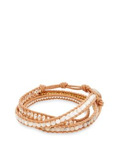 Nugget & Leather Wrap Bracelet