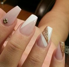 Nude, white, gold, stud, coffin, acrylic nails