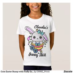 Cute Easter Bunny with Fluffy Ears in Egg T-Shirt Fancy Bows, Personalized Buttons, Cute Easter Bunny, Children Clothing, Cute Tshirts, Kawaii Fashion, Cute Designs, Cute Kids, Colorful Shirts