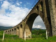 Vorokhta bridge - one of the longest arched bridges, viaducts in Europe (Carpathian Mountains, Ukraine)