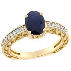 14K Yellow Gold Natural Blue Sapphire Ring Oval 8x6 mm Diamond Accents, size 10 ** Check out the image by visiting the link.