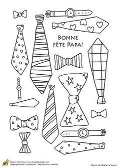 Des cravates et accessoires pour papa, à colorier et à lui offrir