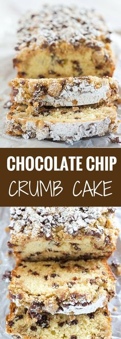 This chocolate chip crumb cake is unbelievably tender, loaded with chocolate chips and topped with the most amazing crumb topping!NOTE: A number of readers have had problems with the volume of the…More Awesome Keto Chocolate Dessert Ideas Loaf Recipes, Quick Bread Recipes, Baking Recipes, Sweet Recipes, Cake Recipes, Healthy Recipes, Recipes With Cake Flour, Cake Flour Recipe, Baking Snacks