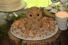 Woodland themed baby shower- Acorn dessert treats- wood owl- dessert table