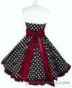 New Retro Polka Dot Burgundy Trim Dress