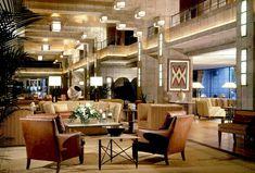 Arizona Biltmore Hotel (Lobby) by Frank Lloyd Wright - Phoenix, Arizona / Ca Stairs In Living Room, Formal Living Rooms, Hotel Lobby, Arizona Biltmore, Astoria Hotel, Living In Arizona, Interior Architecture, Interior Design, Brown Furniture