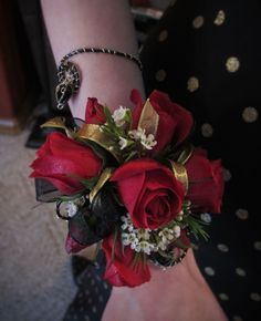Wedding flowers by Chickabloom Floral Studio, a wedding and event floral specialist serving Vancouver and Camas, WA, Portland, OR and the surrounding areas. Black Corsage, Red Corsages, Gold Corsage, Prom Corsage And Boutonniere, Bridesmaid Corsage, Flower Corsage, Corsage Wedding, Wrist Corsage, Prom Flowers