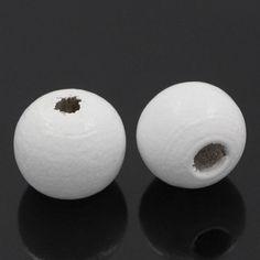 Korálky - Drevené korálky biele 10mm (balíček 25ks) - 6555670_