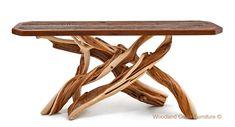Log Sofa Table with Reclaimed Barn Wood Top