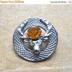 by StudioVintage on Etsy Vintage Brooches, Vintage Jewelry, Unique Jewelry, Vintage Hats, Moose Head, Antlers, Brooch Pin, Rings For Men, Chrome