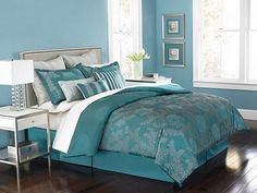 Martha Moonlit Tide Queen 9 Piece Comforter Bed In A Bag Set By