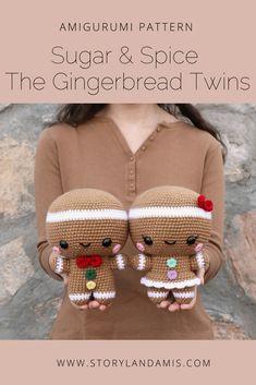 Sugar & Spice the Gingerbread Twins Crocheted Amigurumi Pattern-Storyland Amis