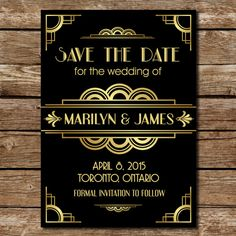 Roaring 20s Gatsby Inpired Save the Date by LetsCelebratetheDay