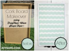 Cork Bulletin Board Makeover using FrogTape® Shape Tape™ @superjoy