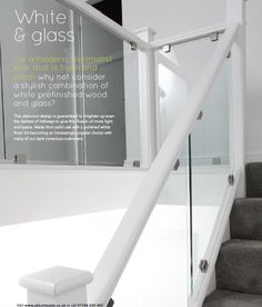 White & Glass with black Gallery Wall Staircase, Loft Staircase, White Staircase, House Stairs, Staircase Design, Staircase Ideas, Glass Bannister, Glass Stairs, Banisters