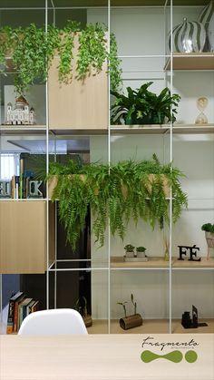 Office Interior Design, Interior Exterior, Office Interiors, Interior Styling, Living Room Partition Design, Room Partition Designs, Room Deviders, Mini Mundo, Metal Room Divider