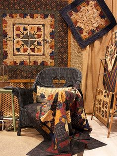 A beautiful display of quilts using Kansas Troubles Quilters fabric.Summer's End by Kansas Troubles by Fat Quarter Shop,