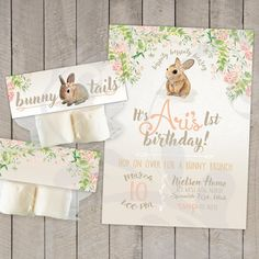 Bunny Brunch Birthday Party Invitation and Favor Tag Birthday Brunch, Brunch Party, 3rd Birthday, Birthday Ideas, Party Invitations Kids, Engagement Party Invitations, Family Birthdays, Woodland Party, Bunny