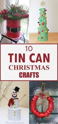 10 Amazing Tin Can Christmas Crafts tin can christmas ideas Tin Can Decorations, Recycled Christmas Decorations, Diy Christmas Gifts, Christmas Projects, Christmas Wreaths, Christmas Ornaments, Ornaments Ideas, Homemade Christmas Crafts, Christmas Houses