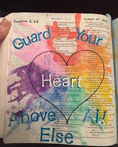#biblejournaling #makingmywaythroughproverbs #guardyourheart #watercolors My Bible, Bible Art, Guard Your Heart, Death, Christian, Journaling, Life, Watercolors, Hobbies