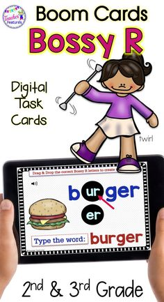 BOOM CARDS PHONICS | Identify the Sound | BOSSY R | R CONTROLLED VOWELS | This no prep, self-checking deck contains 50 Boom Cards to help 2nd & 3rd grade students identify R Controlled / Bossy R words. Spelling focus: AR, ER, IR, OR and UR. #phonics #BoomCards #digitaltaskcards #Rcontrolledvowels #TeacherFeatures #Rcontrolled #BossyR