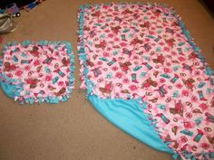 Western Girl Pink w/ Light Blue back Mommy & Baby Fleece Tie Blanket