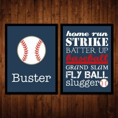 8x10 Baseball Wall Art Package  Set of 2  custom name by numanums, $20.00