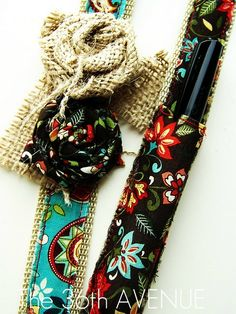 Cute tutorial on customizing a lanyard with fabric flowers and a pen holder. The 36th avenue.