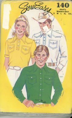 SewEasy 140 Adult's Western Shirt Size S, M, L, XL, XXL UNCUT - Sewing Patterns