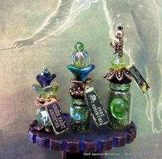 Green Fairy Absinthe Potion set dollhouse miniature in one inch scale