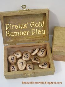 Kitchen Floor Crafts: Pirates' Gold Number Play (can adapt for music game)