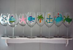 Custom Beach Themed Hand-Painted Wine Glasses Set of 4 - Choose from 10 Designs (Sand dollar, Sailboat, Starfish, Flip flop, Fish, Palm Tree, Anchor, Crab, Sea Turtle) $39.99 on Etsy