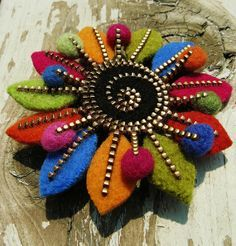 Zipper and Felt Pin for jacket, blouse hat or headband!.... by woolly  fabulous