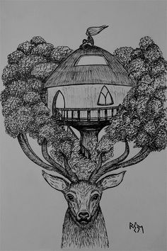 """Inktober Challenge, day 14 sketch ..Today's prompt is """"Tree"""" .. I drew a deer again because they are awesome ..About the tree house, I live in Cairo .. one of the most polluted cities in the world .. air, water, sound pollution .. every sort, you name it .. and this makes me hope for a day when we give full consideration to nature as our primary """"home"""" and build our houses and communities accordingly .. hope that it's not too late ..Worldwide, we already destroyed much of our hom..."""