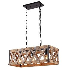 Amaon.com Anmytek Square Metal and Wood Chandelier Basked Pendant Three Lights Oil Black Finishing Rope Net Lamp Shade Retro Vintage Industrial Rustic Ceiling Lamp Caged Light    #light #home #decor #lamp #kitchen #Ceiling #caged #bar #island #gift #design #wooden #metal #rustic #shopping