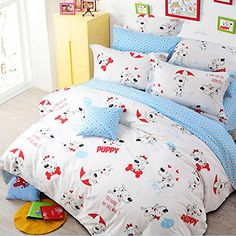 LELVA Cartoon Dog Bedding Set Kids Bedding for Boys and Girls Cotton Childrens Duvet Cover Set Twin Full Queen Full Flat Sheet *** Find out more about the great product at the image link.
