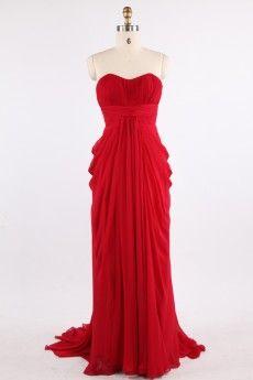 Simple Draped Strapless Sweep Train Red Chiffon Prom Dress JSLD0151-1