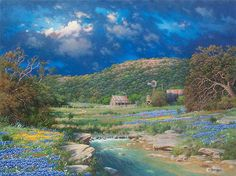 Prevailing Light Wildflowers Bluebonnets in Texas Hill Country by artist Larry Dyke Flower Landscape, Landscape Art, Landscape Paintings, Landscapes, Oil Paintings, Western Landscape, Country Landscaping, Evening Sky, Texas Hill Country