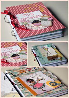 Preciosos recetarios llenos de color, sabor y texturas: http://www.teapartyfor3.com/cat%C3%A1logo-de-productos/diarios-cuadernos-y-recetarios/recetarios/