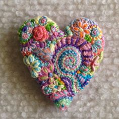 This is a Reserved Custom order listing for bandbgulla ONLY. Please do not purchase if you are not her. Thank you  Brooch #130 As per your request, Pastel color way, 2 freeform embroidery heart brooch  Lucismiles.etsy.com