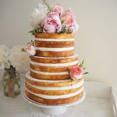 A beautiful 3 tier naked cake delivered today at 'The grounds of Alexandra' #Lizandmitchgethitched
