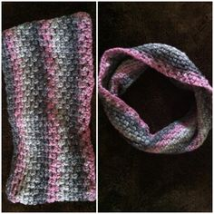 Pink and grey infinity crochet scarf!  Get yours now @  https://www.etsy.com/listing/199014566/infinity-crochet