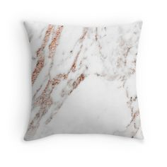 Rose gold vein marble throw pillow cushion by peggieprints on Redbubble. Modern glamorous home decor, great Christmas gift.
