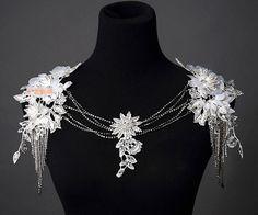 Wedding Dress Shoulder Necklace Bridal Lace Flower by ShieldBeads