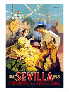Vintage poster: 100 year anniversary of Seville's April Horse Fair. Sevilla Centenario de la Feria de Abril