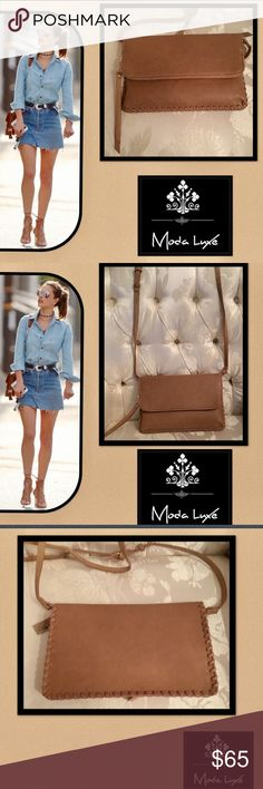 🆕Moda Luxe🌹Camel🌹Envelope Crossbody🌹 Moda Luxe🌹Camel🌹Envelope🌹Crossbody🌹double snap button flap closure🌹adj removable shoulder strap🌹with a gold buckle🌹to convert into a clutch🌹zip closure🌹 Interior lining,🌹interior zip pocket and open pocket🌹 intricate stitching around the perimeter for that cutting edge design🌹metal logo plate🌹 Moda Luxe Bags Crossbody Bags