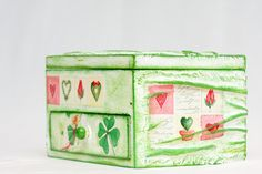 Decoupage Jewelry Box Chest St. Patrick's Day Art Jewelry Chest of Drawers - Custom Made to Order - Jewelry Box Shamrock CLOVER FAIRY, via Etsy.