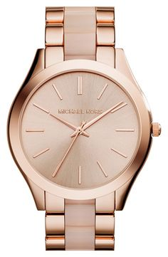 Micheal Kors. Rose gold watch. More affordable if I participate in about 15 student studies