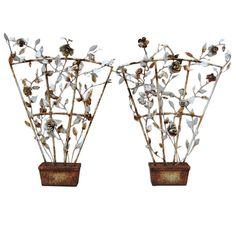 Pair Tole Rose On  A Trellis | From a unique collection of antique and modern garden ornaments at https://www.1stdibs.com/furniture/building-garden/garden-ornaments/