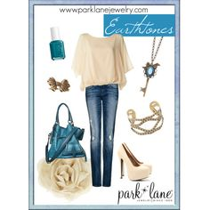 Earthtones, created by parklanejewelry.polyvore.com    Featuring Beauty necklace, Vintage ring, & A La Mode bracelet
